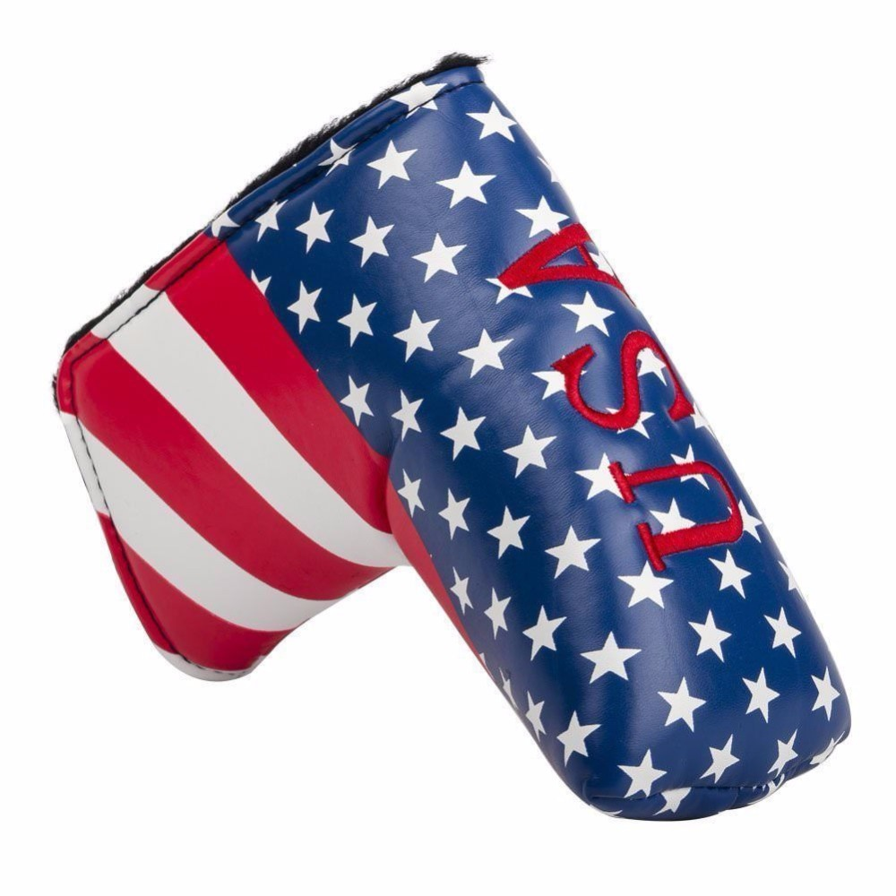 US Flag Embroidery Golf Putter Club Head cover PU Leather L-style Putter Protective Cover1