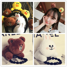 HOT Sell CUTE 7Models 3-6CM Approx. Bear , Duck , Rabbit Plush Stuffed Toy Doll ; Lady Girl's gift hair tie , hairband plush Toy