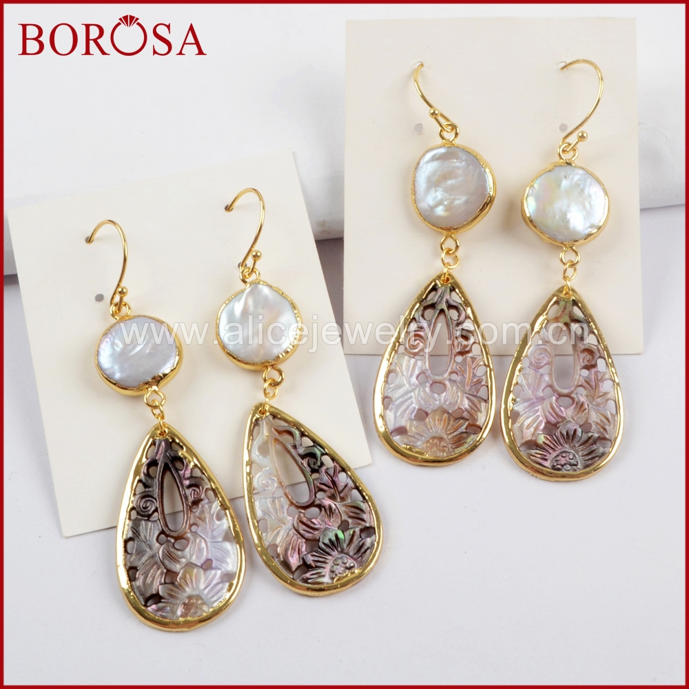 BOROSA 3/5pairs Round White Natural Freshwater Pearl & Carved Teardrop Shell Earrings Fashion Dangle Earrings Jewelry G1596