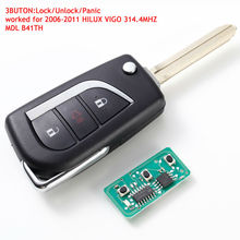 Remote Control key 3 Button 314.4mhz With Uncut Blade for TOYOTA 2006-2011  HILUX VIGO MDL B41TH