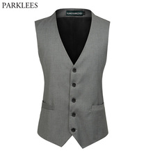 Mens Fashion Single Breasted Brand Suit Vest Men 2018 New Wedding Business Sleeveless Waistcoat Men's Slim Fit Suit Vests 6XL(China)