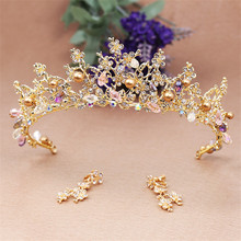 New Fashion Vintage Gold Wedding Tiara Crown Bride Pageant Prom Hair Jewelry Accessories Bridal Queen King Crowns Headdress