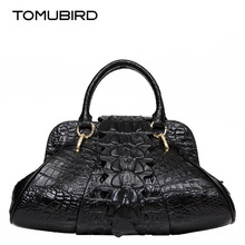 Women genuine leather bag fashion luxury women leather handbags shoulder bag alligator grain embossing perfectly leather art bag