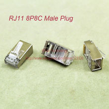 (50pcs/lot) RJ11 8P8C Modular Jack Network Male Shields Plugs 8 Pin Telephone Connector RoHS