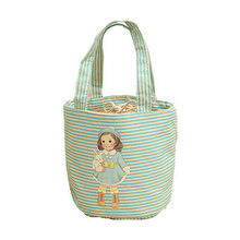 Cute Girl Printing Canvas Mini Insulated Lunch Bag Portable Waterproof Drawstring Small Kids Thermal Cooler Bag