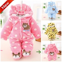 Newborn Baby Girls Clothing Coral Fleece Winter Boy Rompers Cartoon Infant Clothes Meninas Bear Down Snowsuit Babies Jumpsuits(China)
