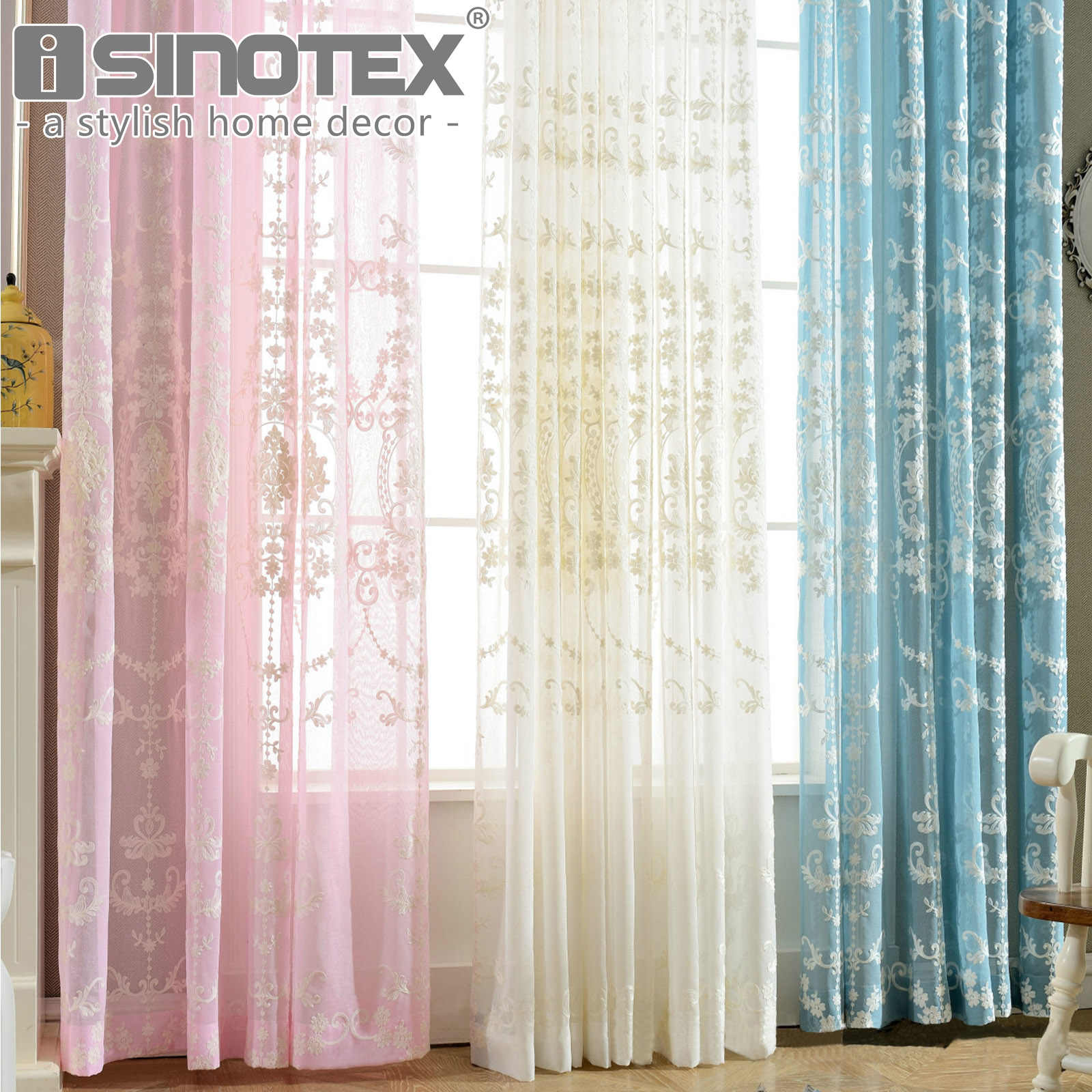 European Style Jacquard Curtains Embroidered Baroque Floral Design Window Treatment Linen Sheer Curtain Drapes Pink White Colors