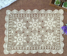 100% Cotton Handcraft Lace Tablecloth Crochet Square Tablecloth 40*60CM Handmade Crochet Tablecloth White / Beige Home Textiles