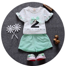2017 New Summer Fashion Style Kids Clothing Sets baby girls O-neck Cotton Short sleeve 1 2 3 years old girls suit Free shipping(China)