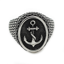 Silver Black Boy Charm Cool Stainless Steel Biker Ring Jewelry Size8~13,Top Quality Classic Vintage Anchor Ring for Men(China)