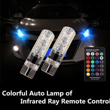 Car-styling T10 5050 6SMD RGB Auto Lamp of Infrared Ray Remote Control DRL Silicone Headlight Strobe Flash Dash Warning Fog Ligh(China)
