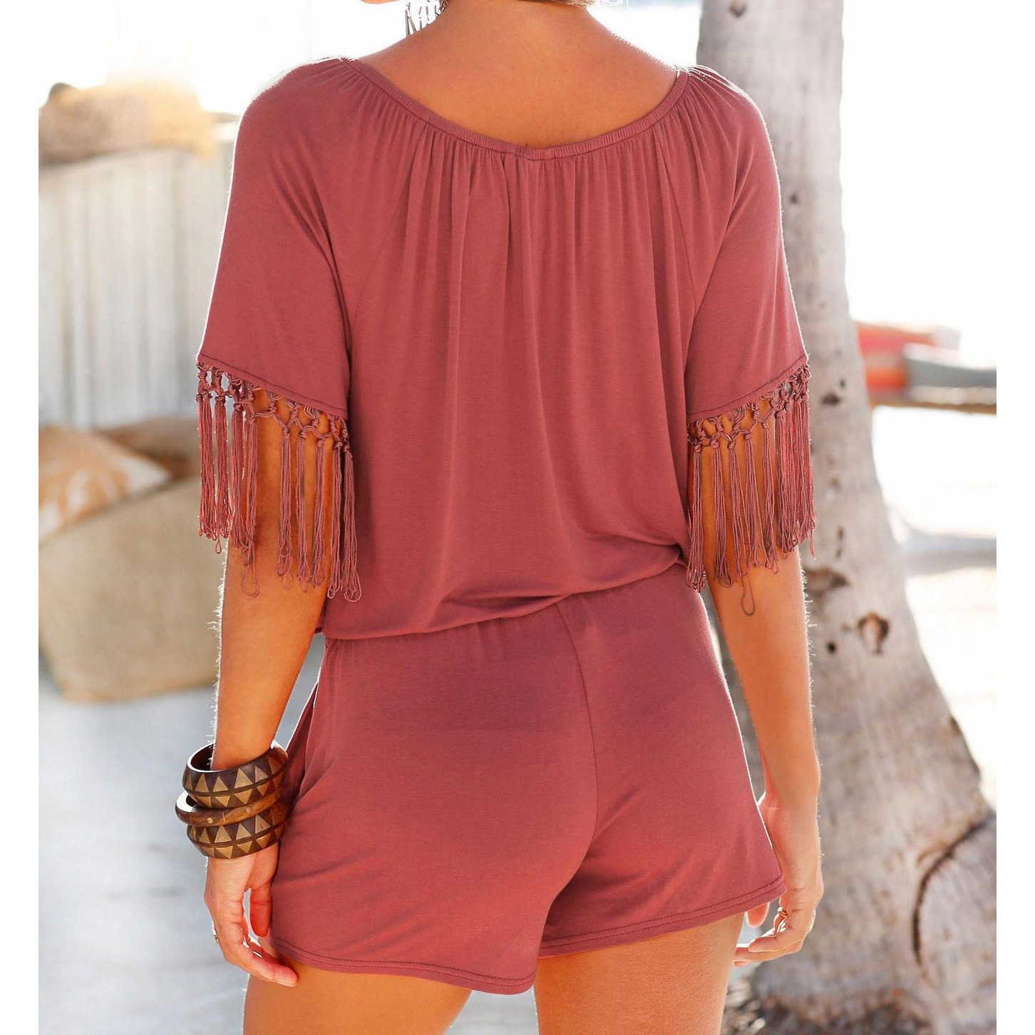 Casual Women Summer Playsuits Sexy Slash Neck Tassel Beach Jumpsuits Shorts Overalls Boho 2018 Girls Pockets Rompers XXL GV923 4