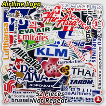 New Style 52Pcs Airline Logo High Quality Stickers Aviation Travel Trip For Suitcase Laptop Decal Fashion DIY Waterproof Sticker(China)