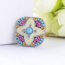 New Arrivals colourful litter peral  snap button charm 18mm rhinestone snap button jewelry  bracelet