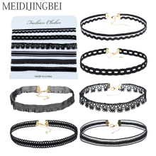MEIDIJINGBEI European and American fashion women's necklace jewelry black lace six sets of necklaces factory direct jewelry