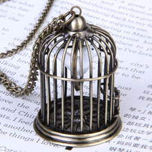 White Dove Vintage Swing Bird in Cage Pendant Necklace