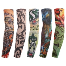 Nylon Fake Tattoo Arm Warmers Oversleeve  Temporary Tattoo Arm Sleeves Exercise Sunscreen
