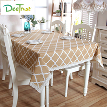 Pastoral Pattern Modern Coffee Color Cotton & Linen Lace Table Cloth Rectangular Table Cover Kitchen Decoration Toalha De Mesa