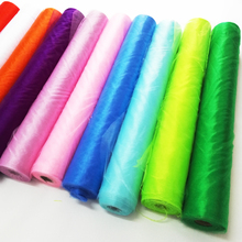 10mx72cm Colorful High Quality Sheer Crystal Organza tulle roll Fabric For Wedding Party Decoration New year decor White Black