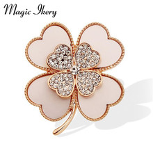 Magic Ikery Rose Gold Color Zircon Crystal Luxury Lucky Clover Brooches Wholesales Fashion Jewelry for women MKY5992