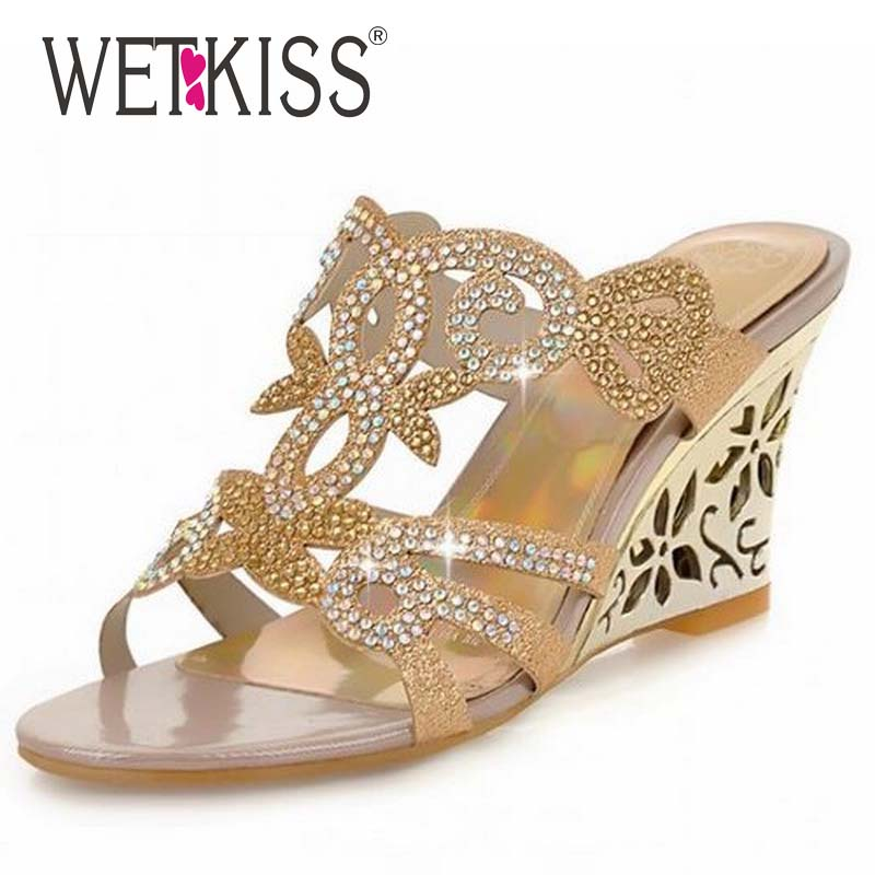 WETKISS 2016 Flower Cutout Wedges Summer Shoes Big Size 34-43 Fashion Women Rhinestone Sandals High Heels Flip Flops Wedges Shoe<br><br>Aliexpress