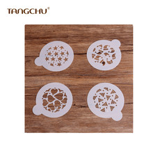 TANGCHU New 4pcs DIY Plastic Stencil Mold Wedding Cake Decoration Baking Tools for Kitchen Homemade Accessories 162561