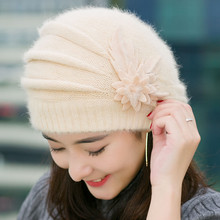 Elegant Women Lady Crochet Knitted Hats Female Fashion Autumn Winter Skullies Warm Flower Cap Beret Wholesale Chapeu Feminino(China)
