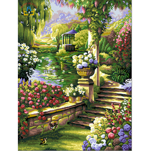 diy oil painting on canvas pictures of garden coloring by numbers framed painting on the wall home decoration landscape E309(China)