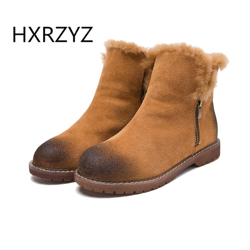 HXRZYZ spring and Autumn new fashion genuine leather snow boots wool inside cotton boots womens winter boots womens Ankle boots<br>
