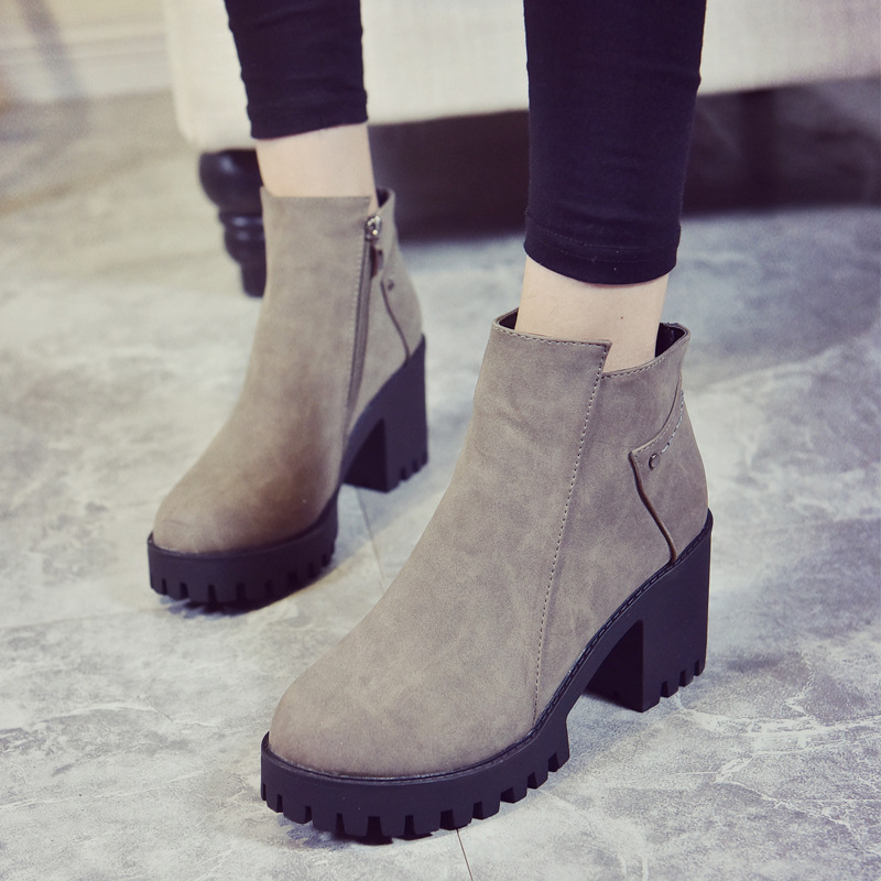 Size 35-39 New 2017 Autumn Winter Boots Fashion Martin Boots Women Casual Leather Boots Buckle Warm Plush Women Ankle Boots 005<br><br>Aliexpress