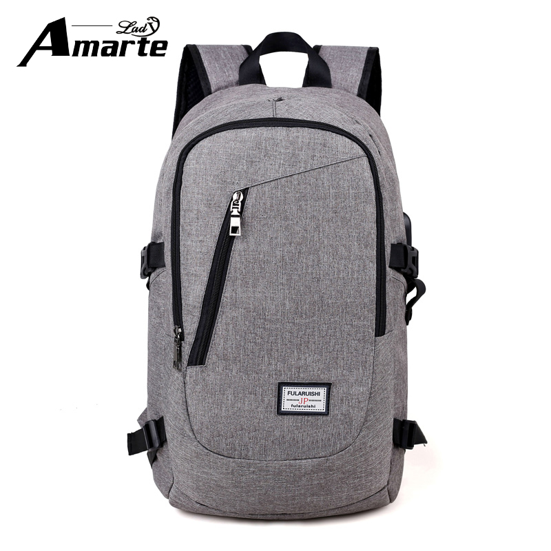 Amarte Men Backpacks Big Capacity Women Waterproof USB External Laptop Backpack for Male Female Travel Backpack Women School Bag<br>
