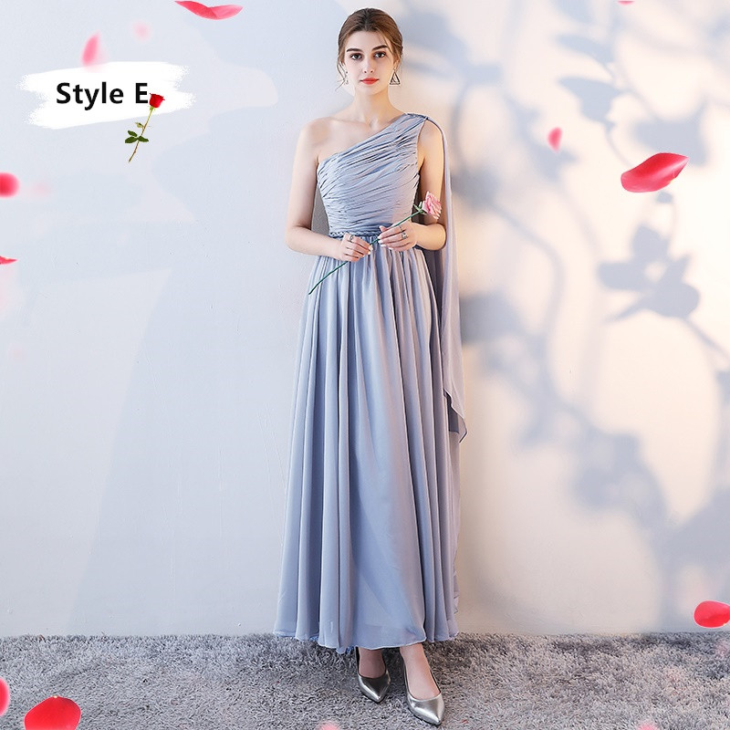 SOCCI Weekend Long Bridesmaid Dresses 2017 Sliver Sleeveless Sister Dress Grey Off shoulder Formal Wedding Party Gowns Robe de 15