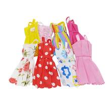 10 Pcs Fashion Mix Sorts Beautiful Party Clothes Sleeveless Dress Skirt for Princess Dolls Dress Up Baby Girls Kids Toys Gifts(China)