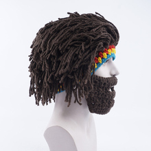 Men Handmade Wig Beard Hats Knitted Hobo Mad Scientist Caveman Warm Winter Caps face mask Halloween Gifts Funny Party Beanies(China)