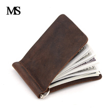 New Arrival Crazy Horse Leather Money Clips Genuine Leather 2 Folded Open Clamp For Money With Coin Pocket TW2306-1(China)