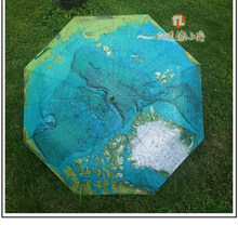 Fully Automatic Rain Umbrella World Map Folding Rain Umbrella Waterproof Wind Resistant Automatic World Map Umbrella