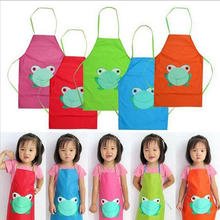 2017 New Cute Kids Child Children Waterproof Apron Cartoon Frog Printed Painting Cooking Apron in stock