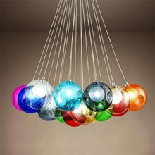Colorful Glass Ball Lamp G4 LED Pendant Lights 110V/220V Creative Design Lighting Fixtures for Home Deco Bar Coffee Living Room