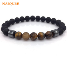 NAIQUBE 2017 Fashion New Men Jewelry 8mm Matte Bead with Column Hematite Bracelet For Men Gift