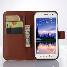 S6Active Flip Leather Case for Samsung Galaxy S6 Active G890A Lichee Pattern Cover Cases 890 SM 6 G890 Wallet Card Stent black(China)