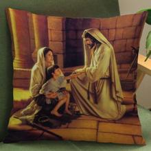 Factory Supply New Design Creative Christian Figures Pattern Short Soft Plush Backrest Pillow Cushion For Home Supplies(China)