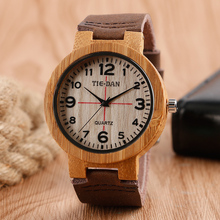 Fashion Handmade Wooden Men Women Wristwatch Arabic Number Genuine Leather Band Strap Nature Bamboo Quartz Watch(China)