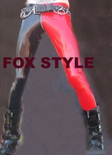 Men's Low Rise Leggings shown in Black and Red Rubber Latex