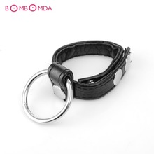 Buy Scrotum Bondage Belt Metal Ring PU Leather Male Chastity Device Cock Ball Bondage BDSM Adult Sex Toy Men