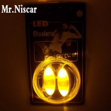 Mr.Niscar 1 Pair Yellow Light Up LED Shoelaces New Fashion Boys Girls Flash Shoes Laces Disco Party Glowing Night Shoes Strings(China)