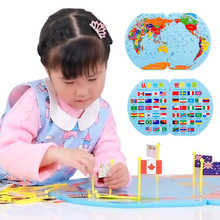 3D Wooden Puzzle World Map toy National Flag Stereo Toys Educational Early Learning Puzzle Jigsaw for Kids Children Gifts(China)