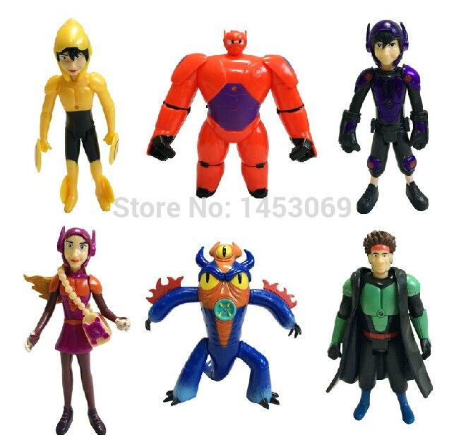 6pcs/set The BiG Hero 6 8-11cm in opp bag Hiro Hamada Baymax Fred Tomago Wasabi Honey Lemon Action Figure toys for kids dolls<br><br>Aliexpress