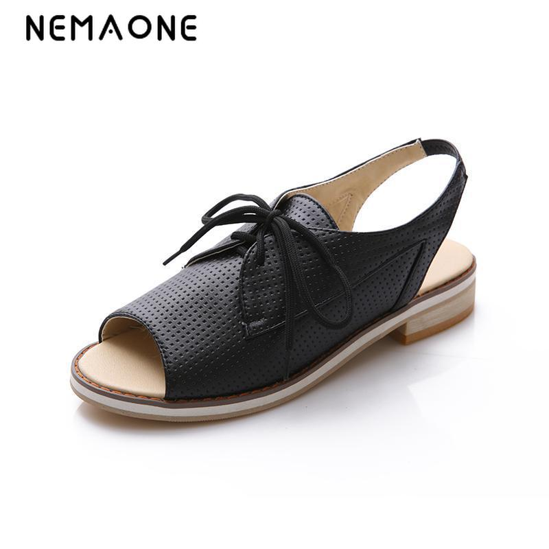 NEMAONE New Fashion british style flat sandals lace up women sandals peep toe casual shoes woman<br>