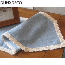 DUNXDECO Country Style Plain Simple Blue Table Runner Lace Border Tablecloth Kitchen Textile Table Cover Home Store Decoration