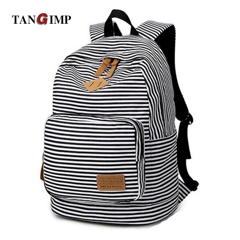 TANGIMP Women Backpack Korean Preppy Style Dyed Fabric Striped Leisure Travel Backpacks for Teenage Girls rugtassen<br><br>Aliexpress